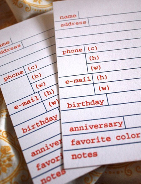 Letterpress Address Cards