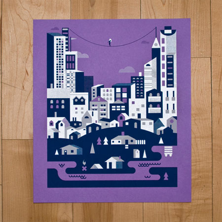Tightrope City Screen Print Poster