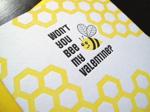 Bee My Valentine Letterpress Card