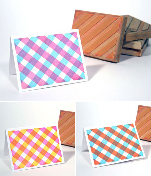 Letterpress Gingham Note Cards