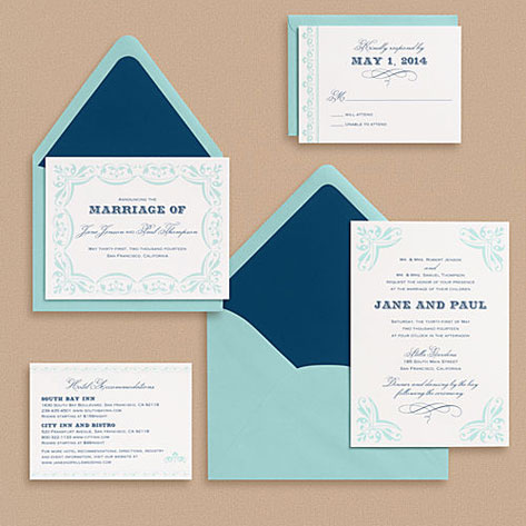 Carnival wedding invitations from Paper Source feature a palette of deep
