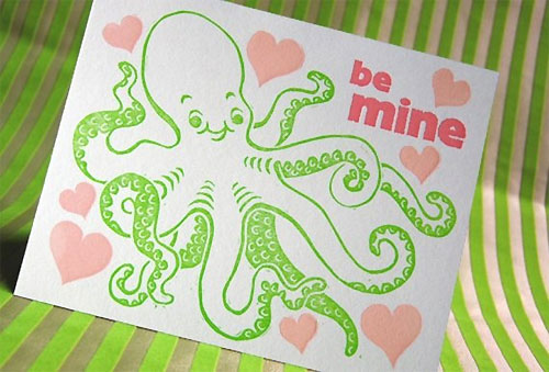 Letterpress Octopus Card