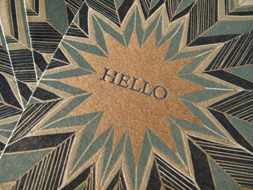 Blue Star Letterpress Hello Card