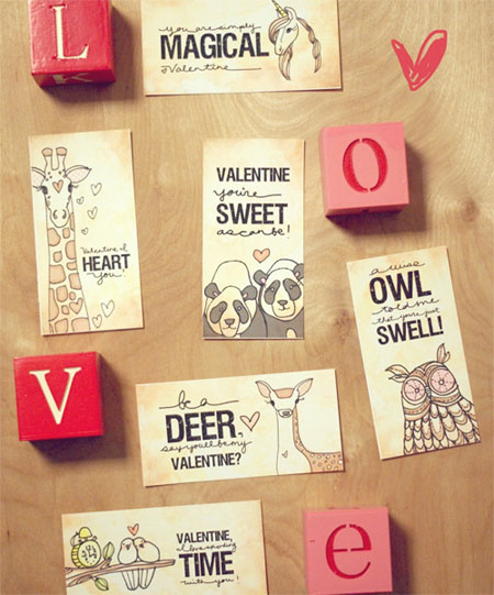 Printable Animal Valentine's Day Cards