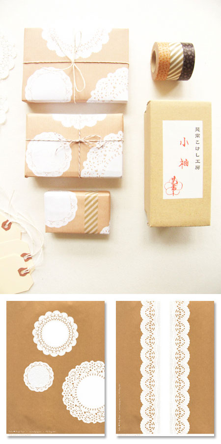 Free Printable Doily Kraft Papers
