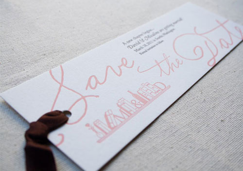 Letterpress Save the Date Bookmarks