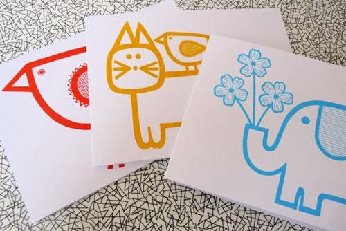 Screen Printed Animal Cards