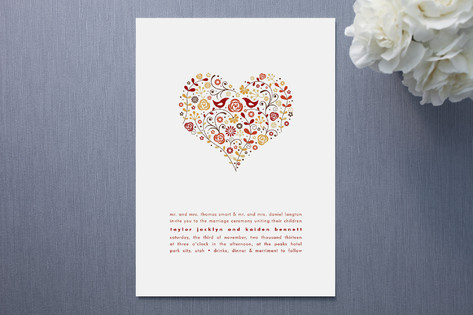 Charmant Love Birds Wedding Invitations