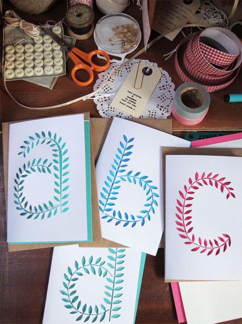 Paper Cut Initial Cards