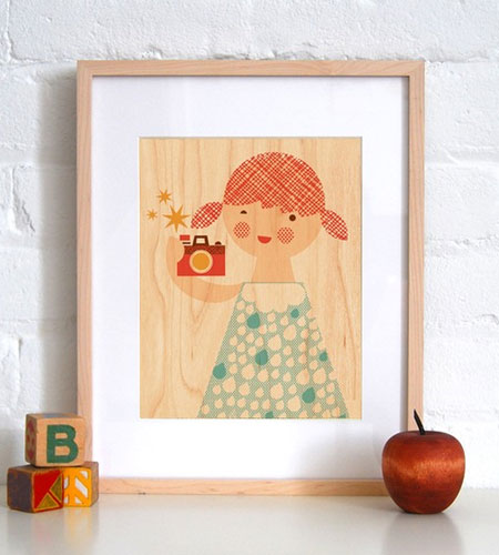 Girl with Camera Wood Veneer Print