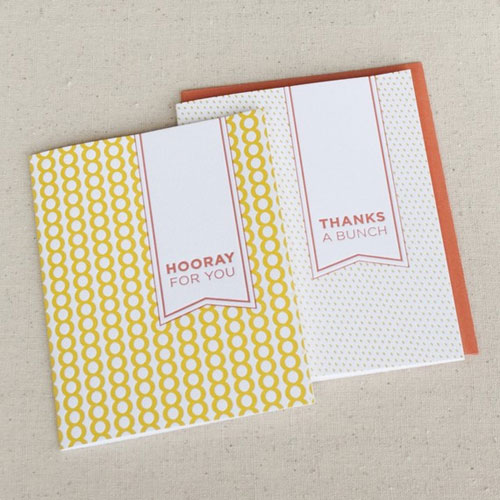 Letterpress Thank You and Congratulations Cards