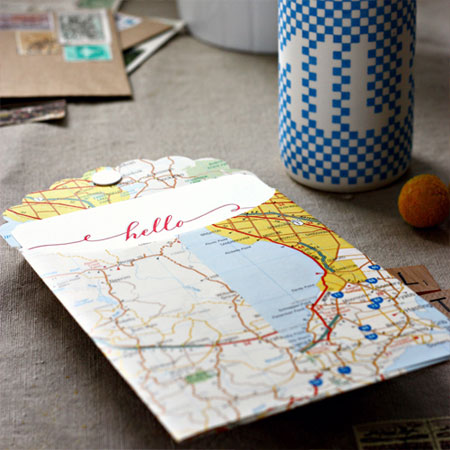 Handmade Vintage Map Envelopes