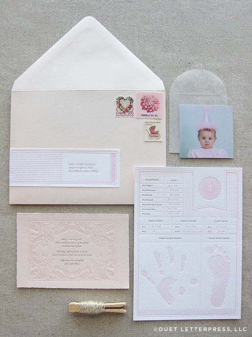 Pink Letterpress First Birthday Invitations