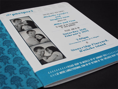 Teal Passport Wedding Invitations