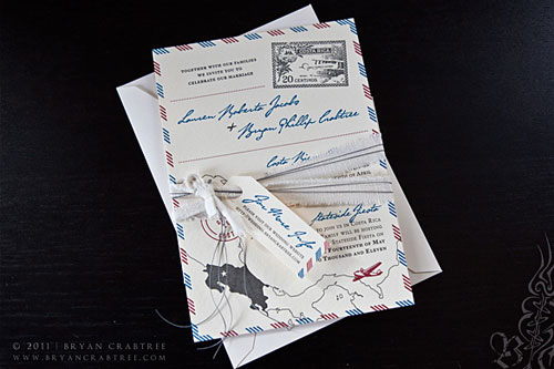 Vintage Airmail Letterpress Wedding Invitations