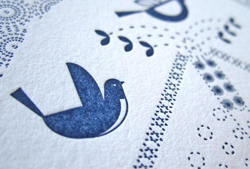 Letterpress Navy Blue Ink + Wit