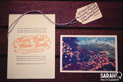 Coral and Grey Letterpress Wedding Invitations