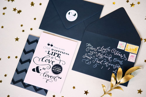 Pink Black + Gold Wedding Invitations