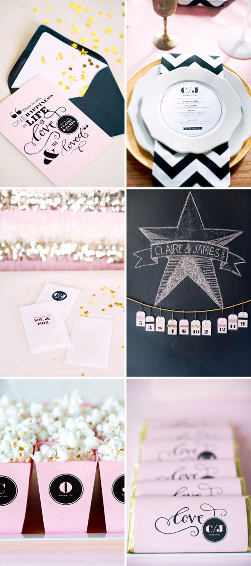 Pink Black Gold Wedding Details