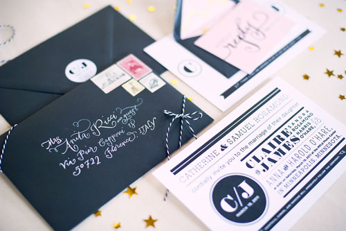 Pink Gold Black Wedding Invitations