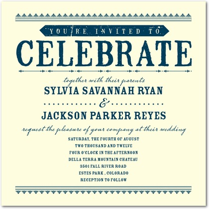 Letterpress Wedding Invitations : Come Celebrate