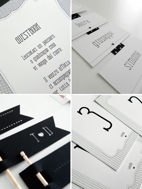 custom labels and black and white striped ribbon Wedding Paper Details
