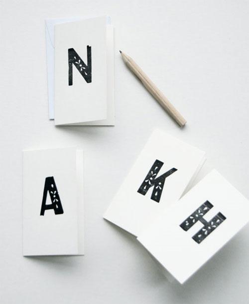 Eyelet Monogram Letterpress Note Cards