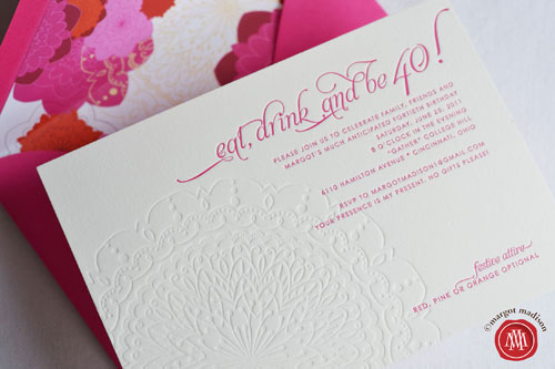 40th Birthday Party Letterpress Invitations