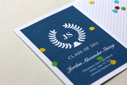 Navy Blue Graduation Announcements