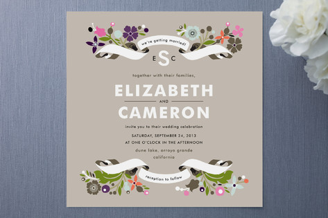 Banner and Branches Wedding Invites