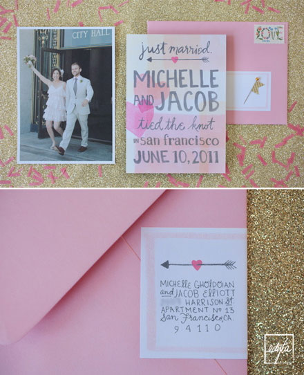 Pink + Gray Wedding Invitations