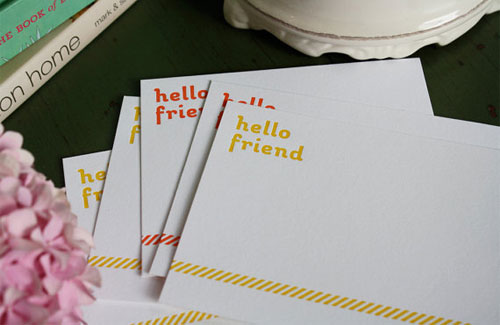 Hello Friend Letterpress Cards