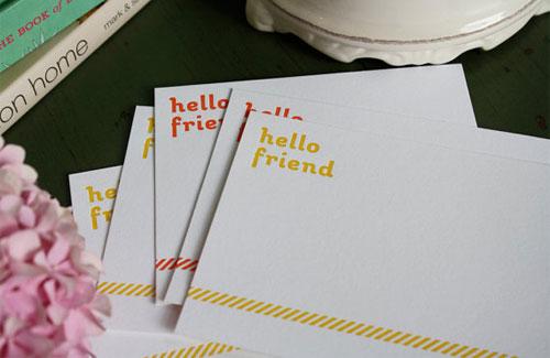 Hello Friend Letterpress Cards