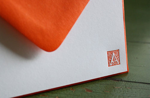 Monogram Letterpress Note Card