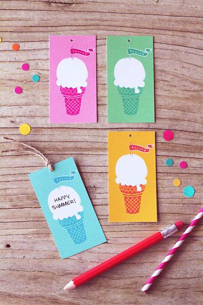 Free Printable Ice Cream Tags