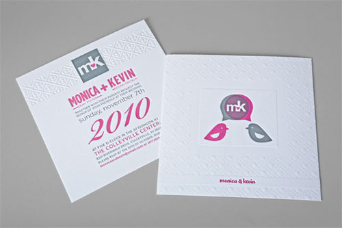 Pink Gray Embossed Wedding Invitations