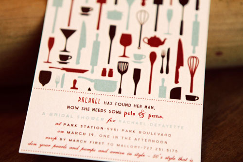 Retro kitchen themed bridal shower invites paper crave jenn lane custom bridal shower invites filmwisefo