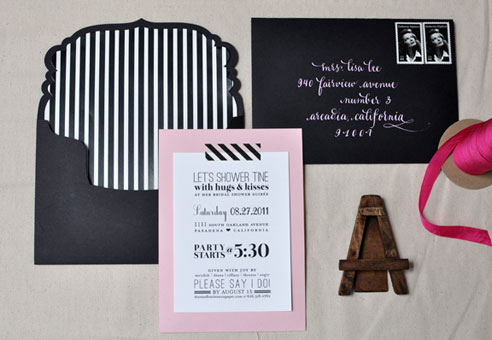 Pink & Black Bridal Shower Invitations