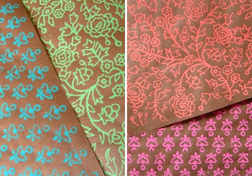 Block Print Wrapping Paper