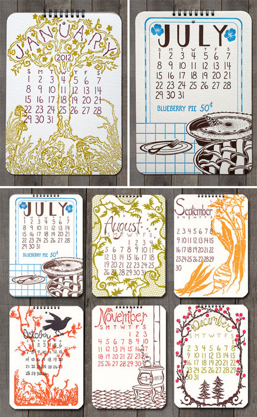 2012 Calendar Design Old School Stationers
