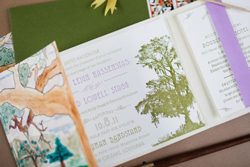 Moss Green Lavender Wedding Invites