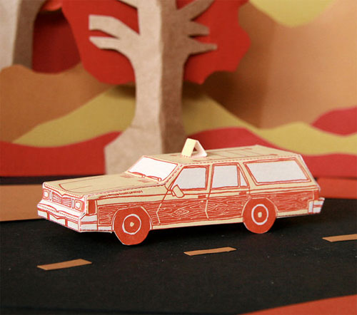 3D Paper Toy Station Wagon