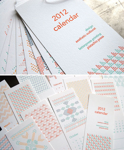 Cross Stitch Letterpress Calendar
