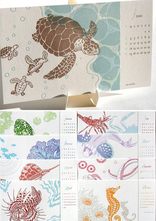 Aqua 2012 Letterpress Calendar