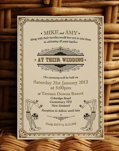 Acrobat Letterpress Wedding Invitations