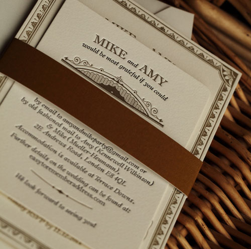 Black and Gold Letterpress Wedding Invitations