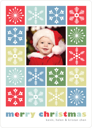 Colored Snowflakes Holiday Photo Cards