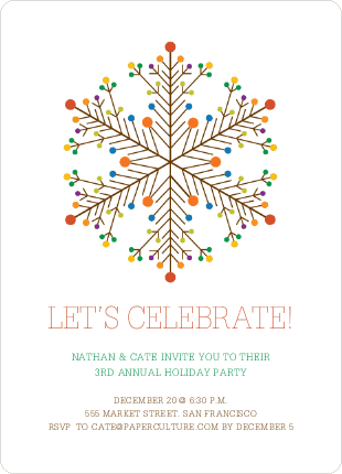 holiday party invites dotted snowflake by rachel liang