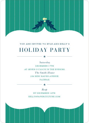 Holly Stripes Party Invitations
