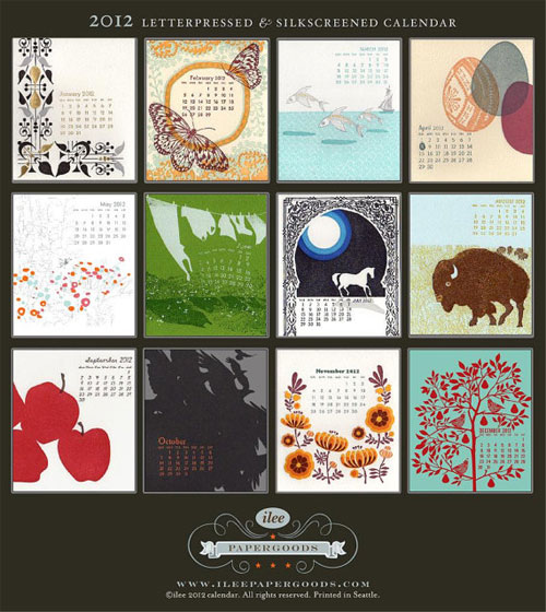 Ilee Letterpress Screenprint Calendar